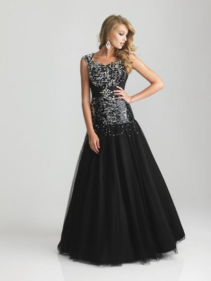 2df7913c8526 Would need to be a different color. Night Moves Modest Prom Dress with  Fully Sequined Bodice 6802M