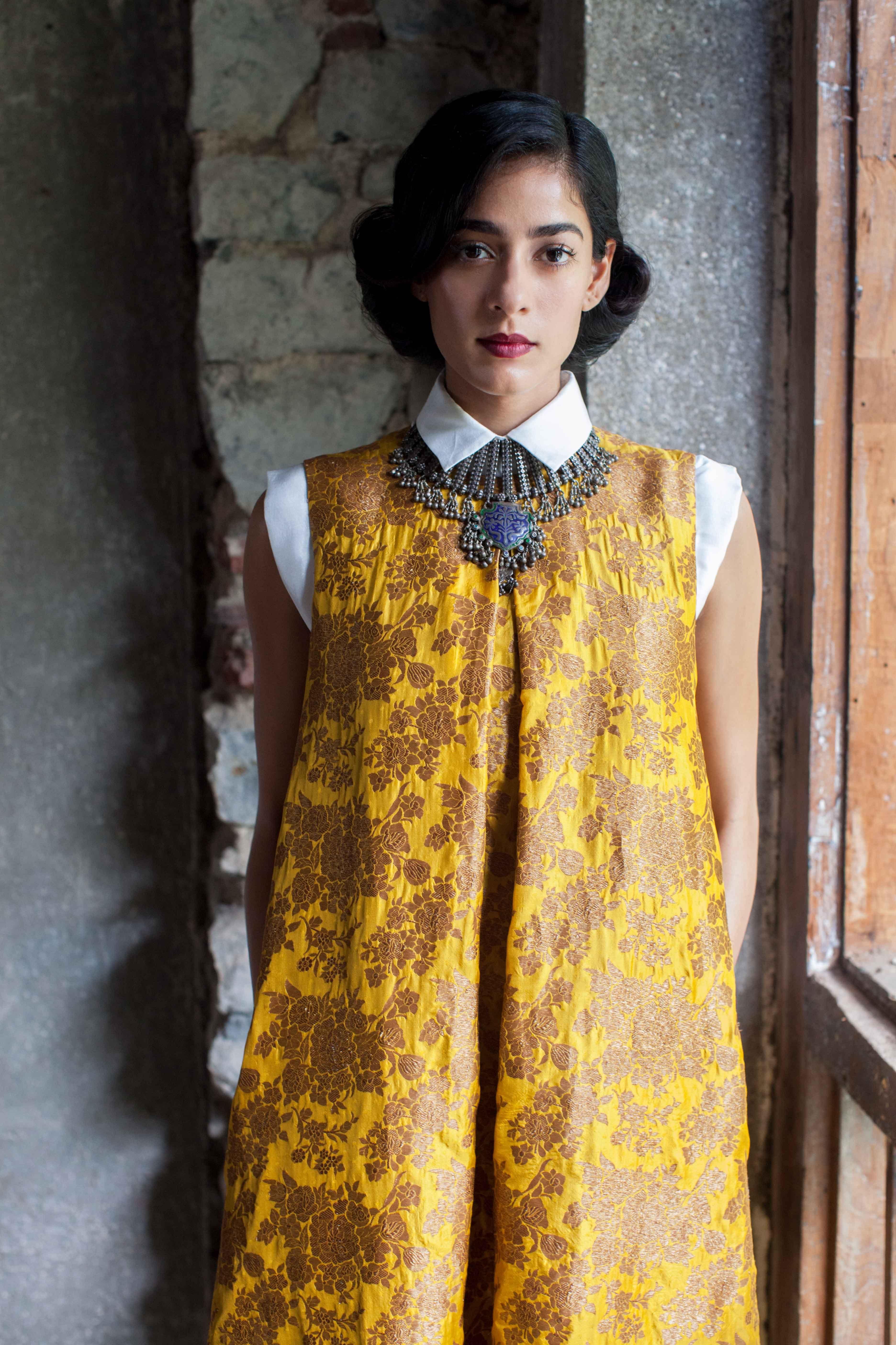 Payalkhandwala aw silk shirt and brocade maxi dress