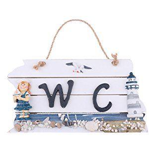 Shabby targhe legno segno wc nautico decorazioni porta for Targhe decorative in legno