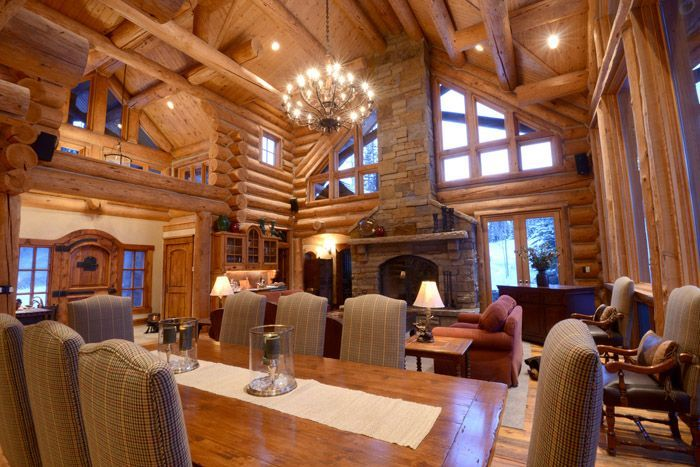 What Is Rustic Design Style Log Home Interior Open Floor House
