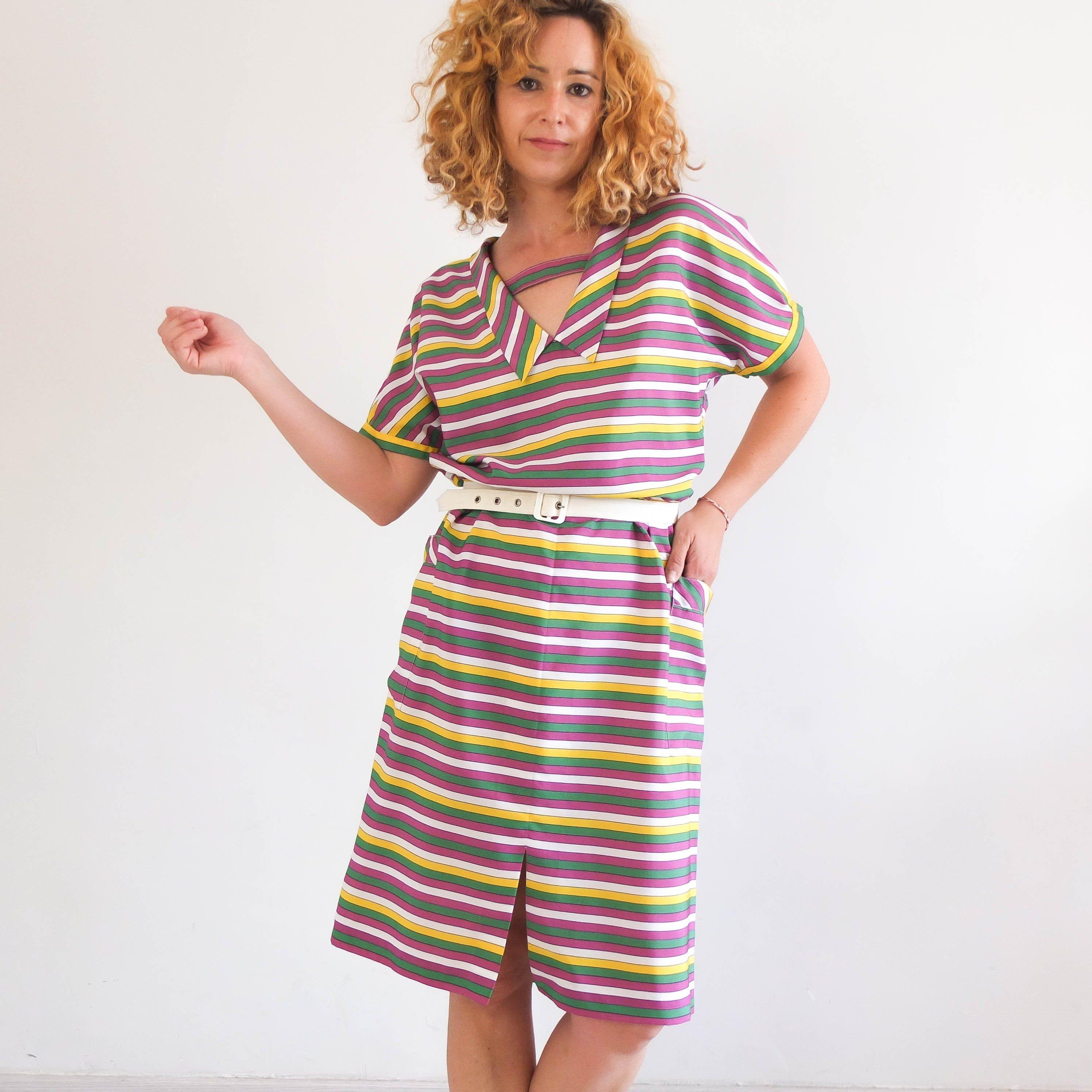 Vintage Rainbow Dress Vintage Colorful Striped Dress 70s 80s Summer Day Dress Orange Green Purple Stripe Dres Striped Dress Summer Day Dresses Rainbow Dress [ 2992 x 2992 Pixel ]