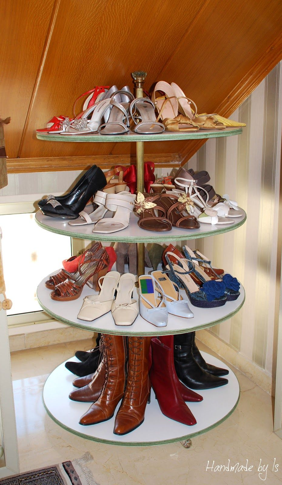 HandmadebyIs: DIY shoe rack to show them off, and it spins! including my  African Violets, fancy china, etc.