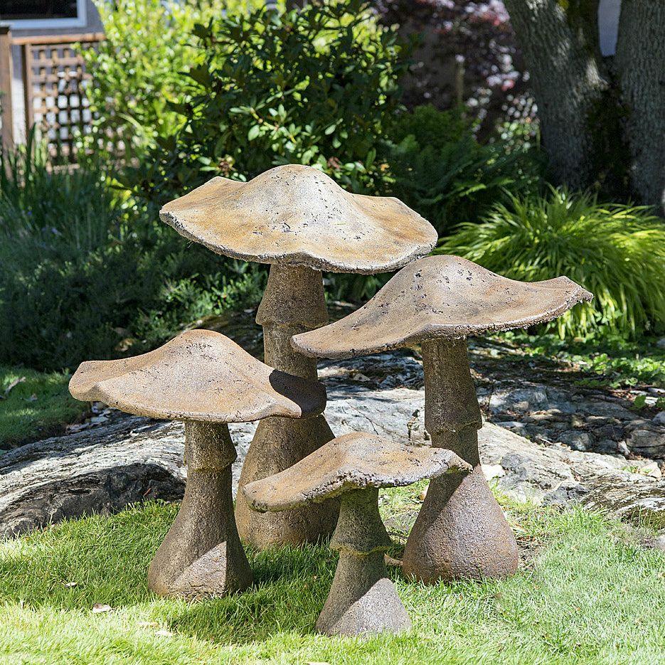 65 Philosophic Zen Garden Designs: Garden Mushrooms. Stained Ornamental Concrete Decoration