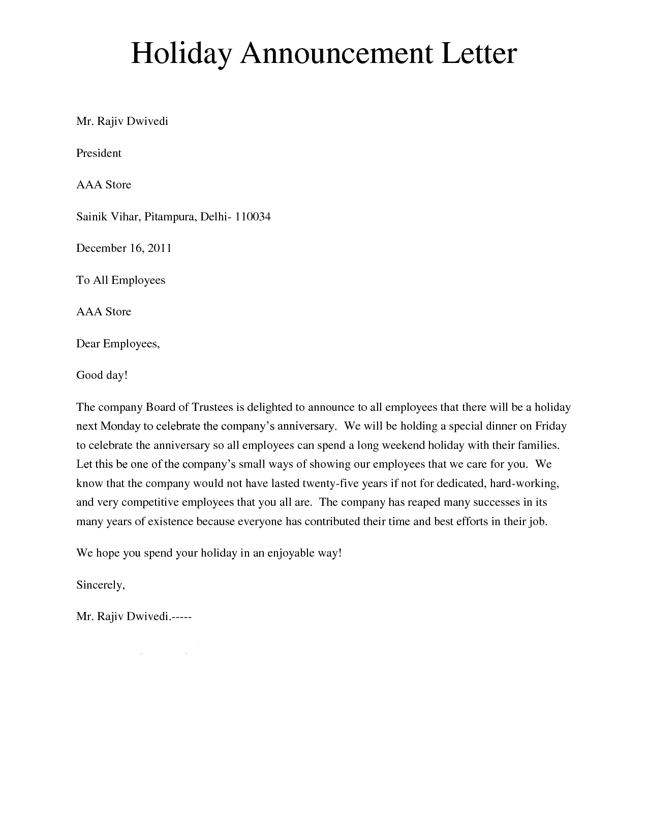 retirement announcement letter a well prepared letter which is holiday announcement letter giving a letter to inform about the holiday called holiday notice letter