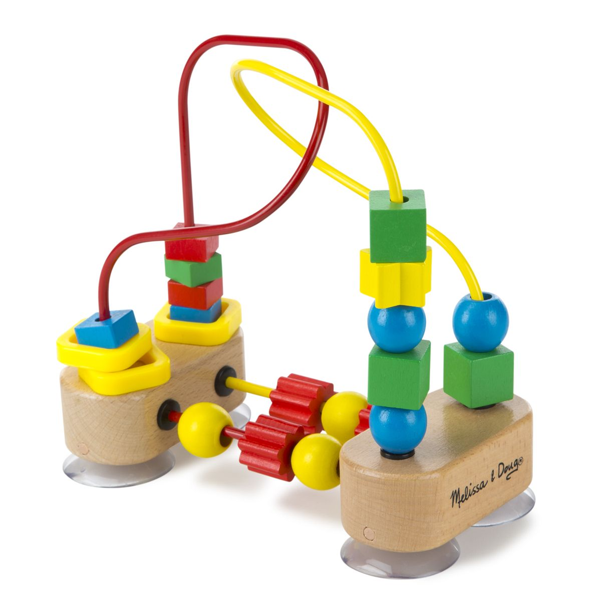 First Bead Maze : Sitting in a high chair is much more fun with this fantastic bead maze.  Featuring brightly colored, multi-shaped beads that spin and slide along red and yellow wire pathways that are anchored by a strong suction cup base.  Encourages color recognition, hand-eye coordination and fine motor development through play!