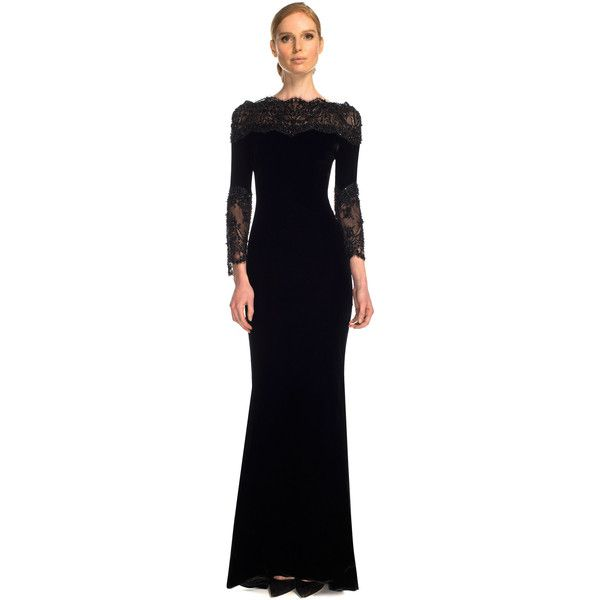 Marchesa Stretch Velvet Gown With Re-Embroidered Lace Accents ...