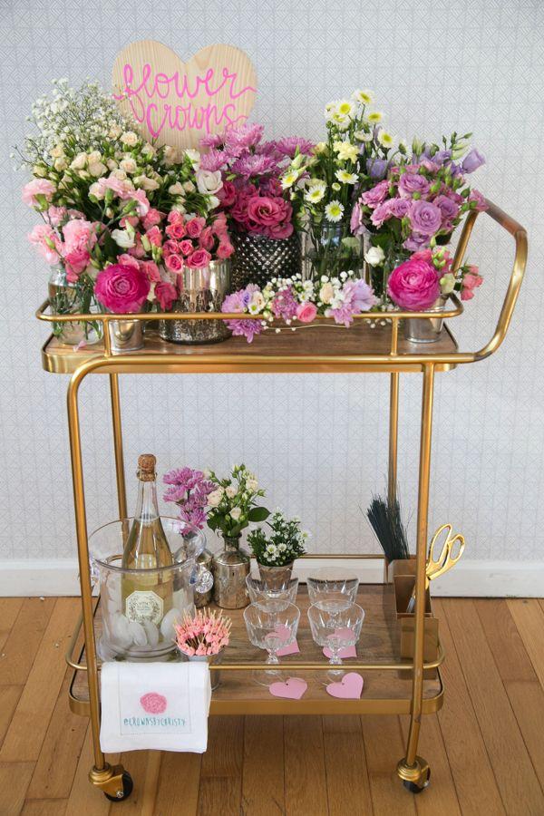 DIY Flower Crown Bar! Great idea for bridal shower, baby shower, summer soiree, fairy garden festival.
