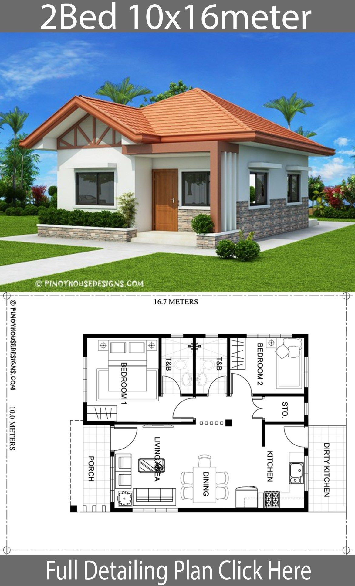 Home Design Plan 10x16m With 2 Bedrooms House Plans House Plans
