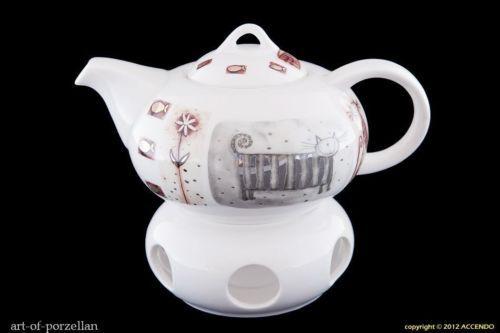Teekanne Porzellan Mit Stövchen teekanne inkl stövchen goldene katzen porzellan goldrand geschenk