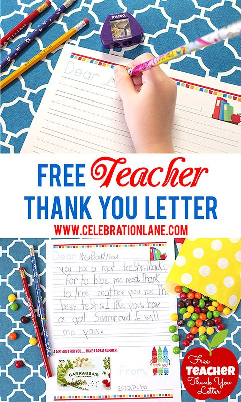 Free Teacher Thank You Letter Gift Idea  Teacher School And