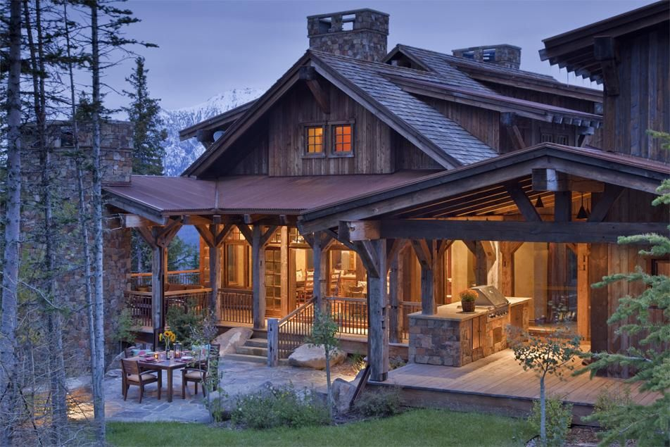 Stone And Timber Custom Home In Big Sky Montana Rustic House Rustic Cabin Log Homes