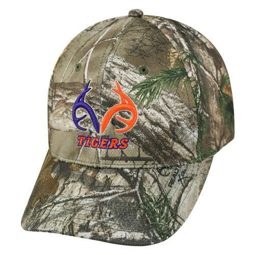uk availability 45a80 164ff Clemson Tigers Realtree Xtra Camouflage Cap. The stretch one fit hat  features a 3D embroidered team color Realtree logo on front with a small  flat Tigers ...