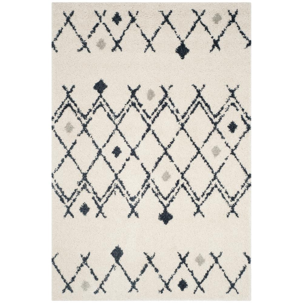 Safavieh Berber Shag Cream Navy 8 Ft X 10 Ft Area Rug Ber164d 8 Area Rugs Area Rug Sizes Colorful Rugs