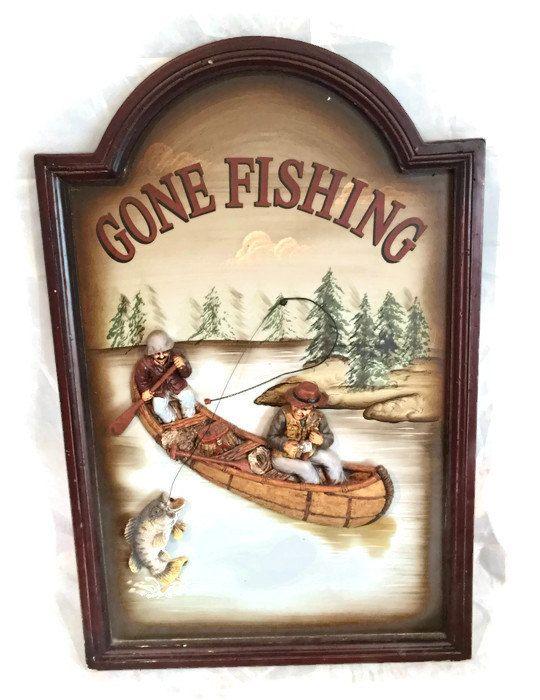 Vintage Gone Fishing Fishers Framed Art Vintage Nautical Wall Custom Gone Fishing Signs Decor