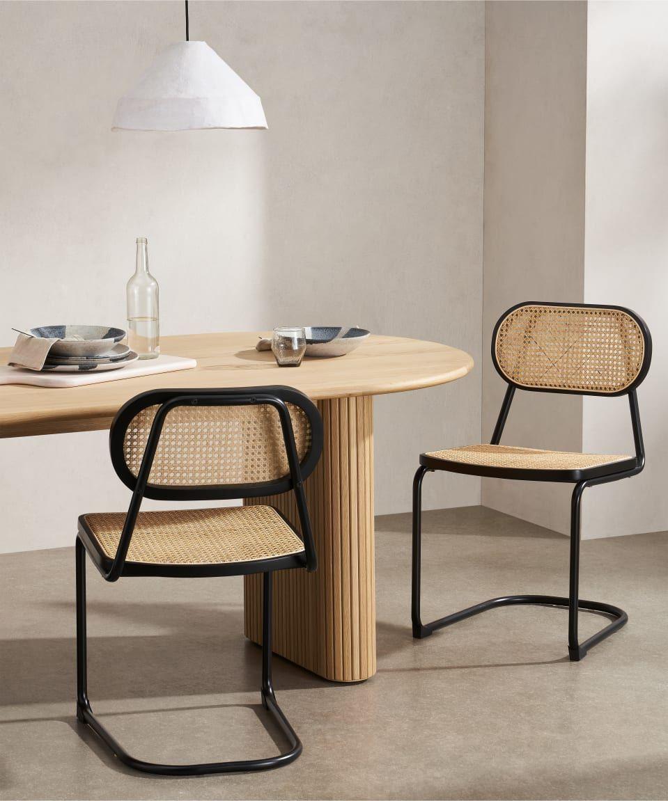 Leora Dining Chair, Cane & Black