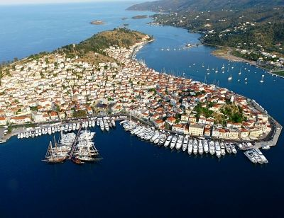 Poros is located 25 miles SW of Athens. It is the best island to use as your first stop leaving Athens because its Marina is big and you will not have to worry for your arrival time if you leave Athens late at night.