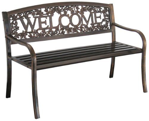 char log metal welcome bench leigh country http smile amazon com