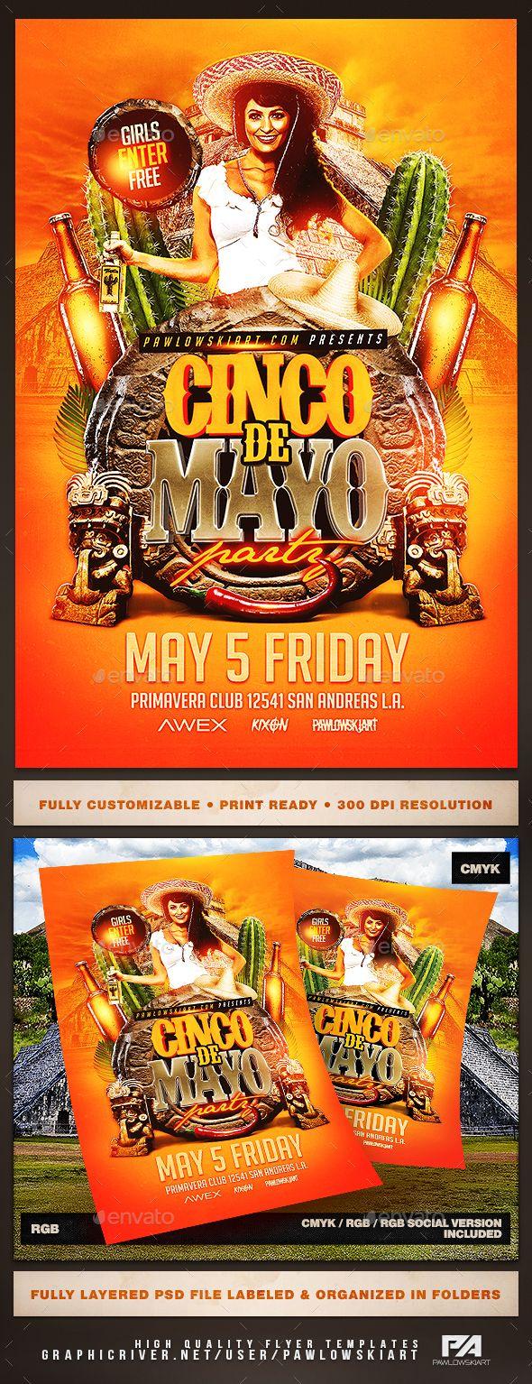 Cinco de Mayo v3 Flyer Template   Photoshop, Cinco de Mayo y Fiestas