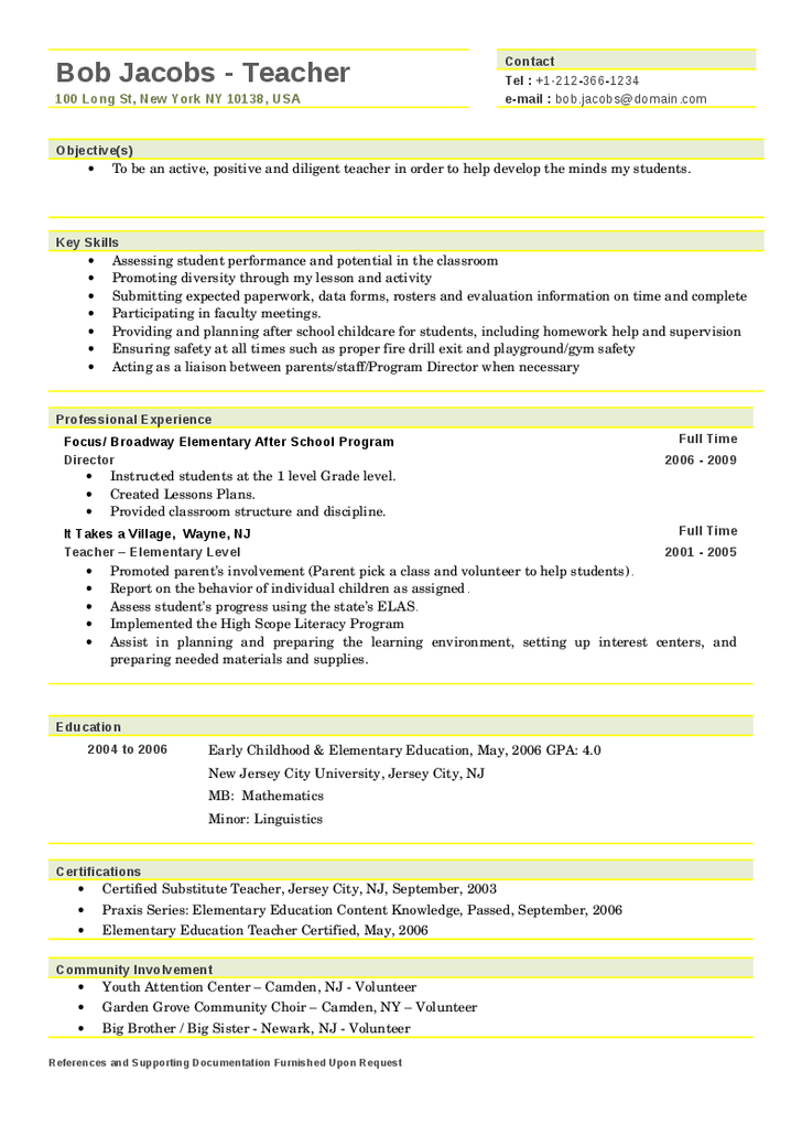 pics photos sample elementary teacher resume templates doc free - Free Teaching Resume Template