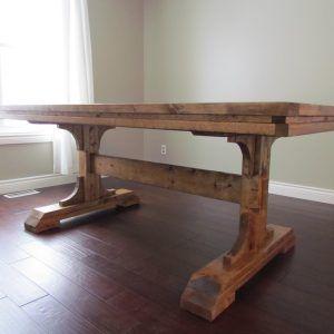 Rectangular Farmhouse Pedestal Table Dining Room