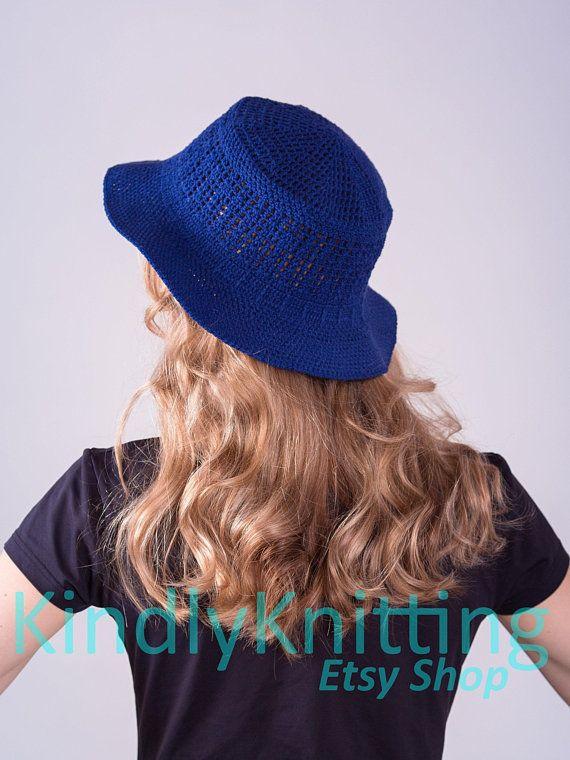 Summer cloche hat woman Navy blue cloche Sun hat womens Crochet hat with  brim Summer crochet brimmed 5dd7f818694