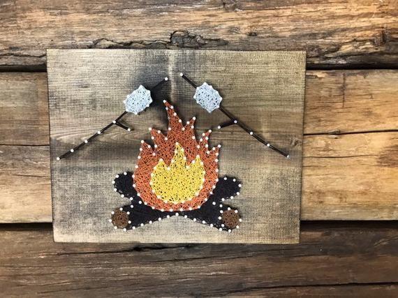 Campfire String Art| Camper Sign| campfire sign| s'mores|