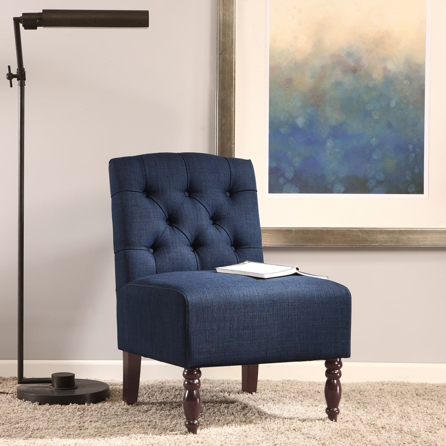 Best Lola Navy Tufted Armless Slipper Chair Navy Blue 400 x 300