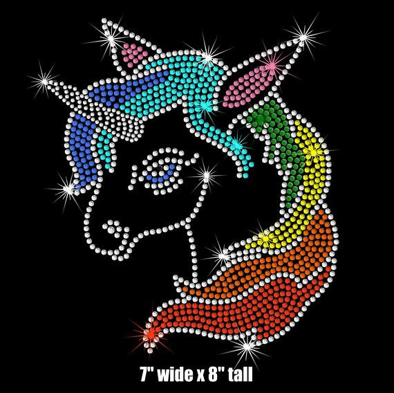 8 tall rainbow Unicorn iron on rhinestone TRANSFER | 30th Birthday