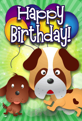 This Birthday Card Features Dogs On The Front And Will Print On