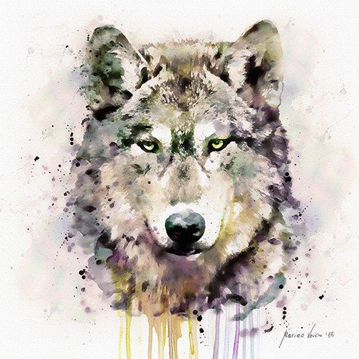 Wolf Head Watercolor painting Wildlife Wall art by ...
