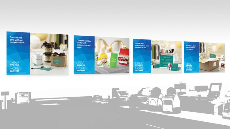 series of posters for staples copy print service promoting custom