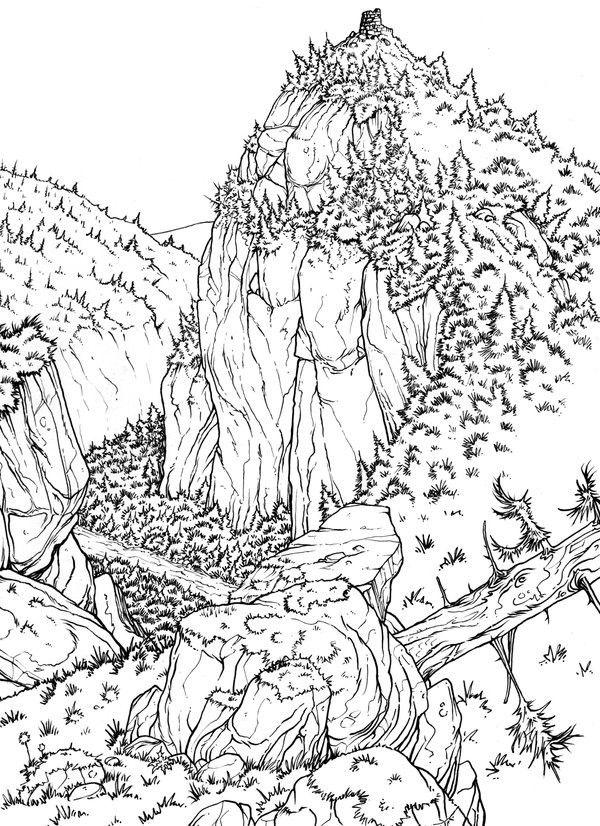 dibujos para colorear para adultos valle  paisajes