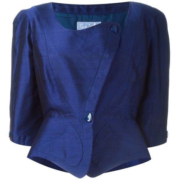 Thierry Mugler Vintage Peplum Jacket (1.175 BRL) ❤ liked on Polyvore featuring outerwear, jackets, blue, peplum jacket, royal blue jacket, 3/4 sleeve jacket, blue silk jacket and blue jackets