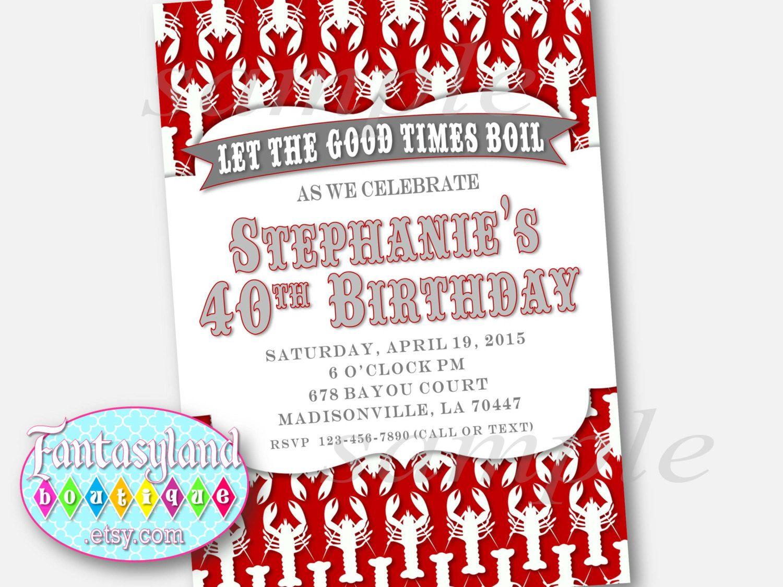 Crawfish Boil Invitation, Personalized Party Invitation, Birthday ...