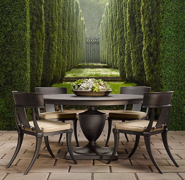 Restoration hardware 39 s klismos dining table and chairs for Restoration hardware outdoor dining