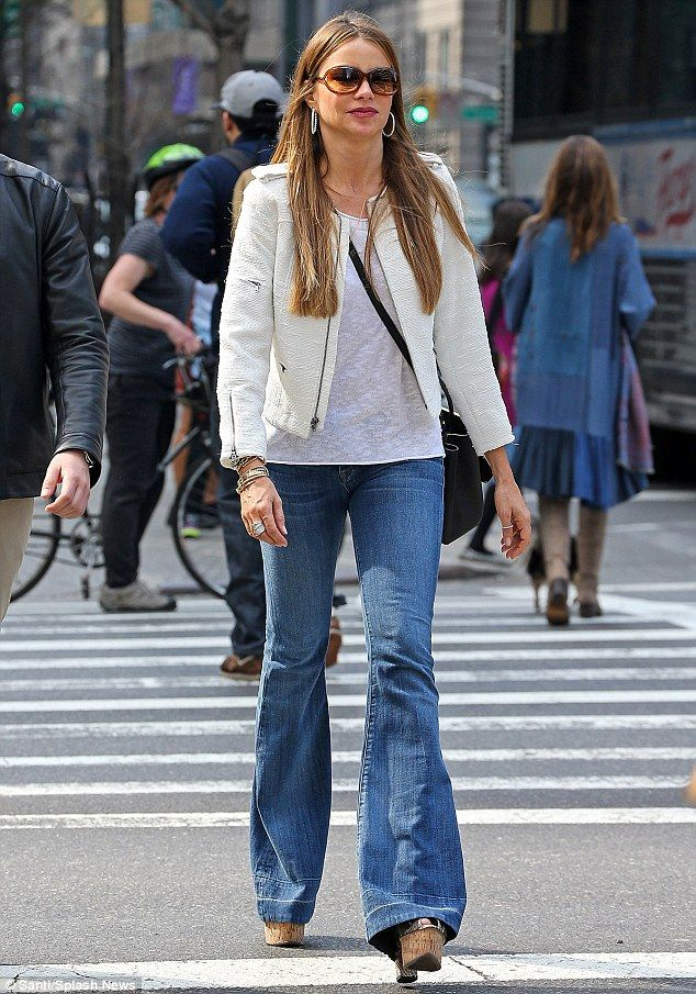 c8c36fd46703 Flaring out: Sofia Vergara rocked some blue flare jeans as she walked  through the Upper East Side in New York City on Sunday