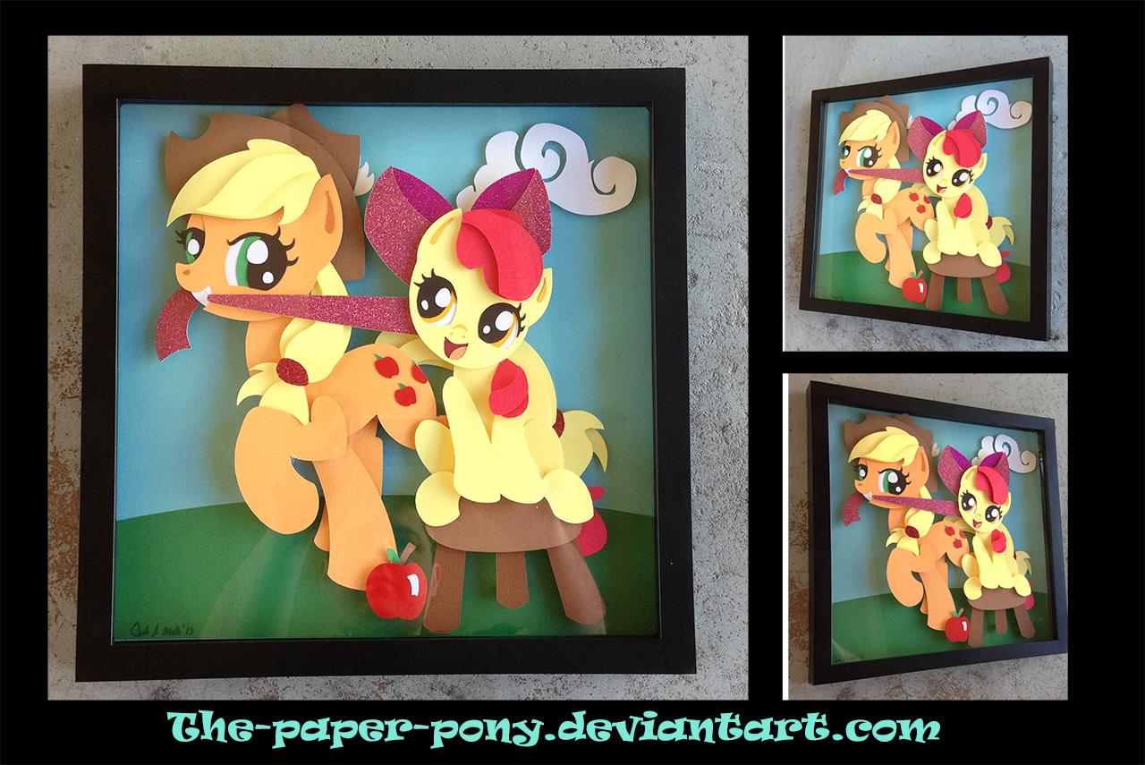 Commission:  AJ and Applebloom Shadowbox by The-Paper-Pony.deviantart.com on @deviantART