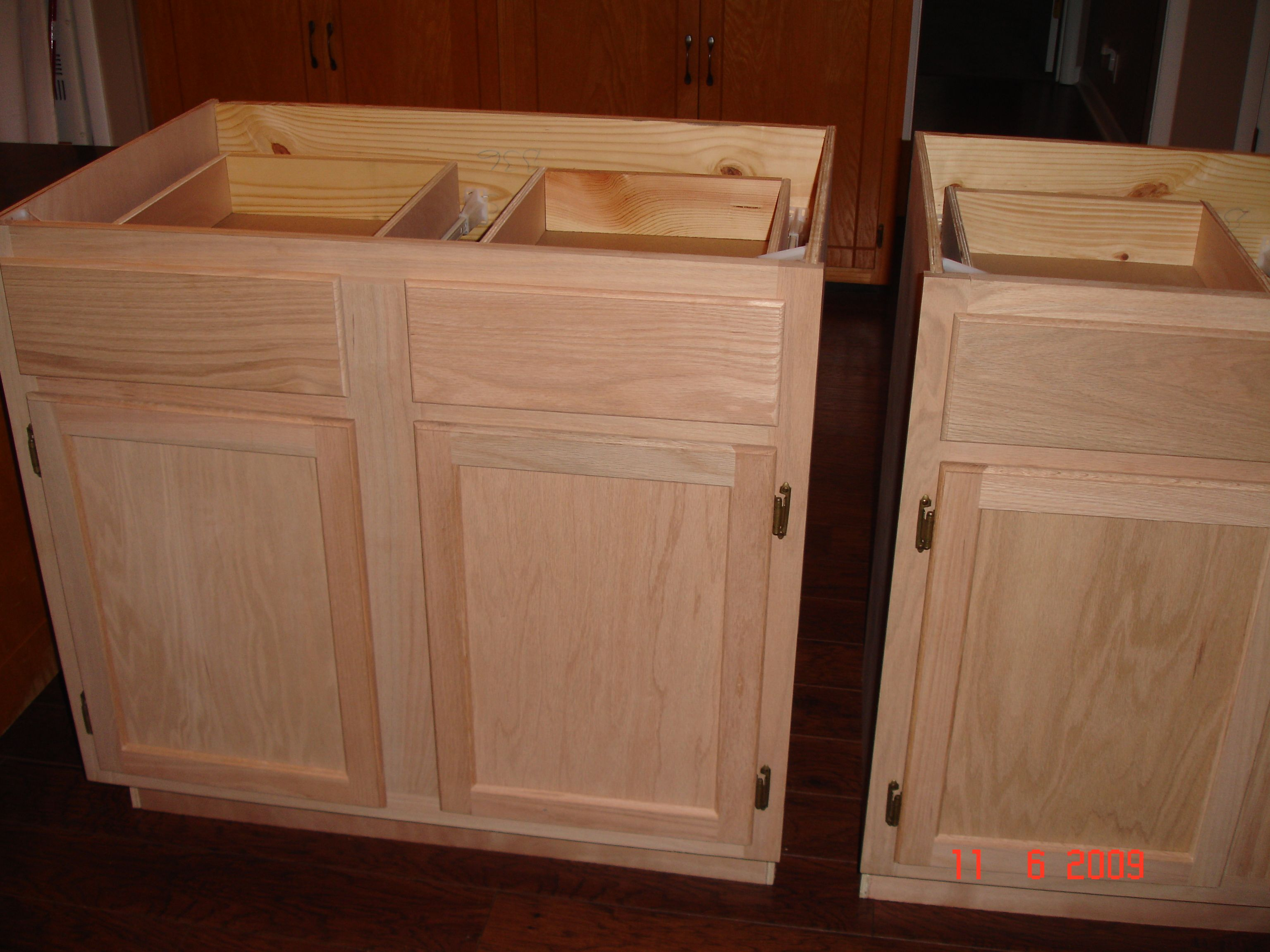 Unfinished Kitchen Cabinets. DIY kitchen island made by hubby  me from unfinished cabinets beadboard stain