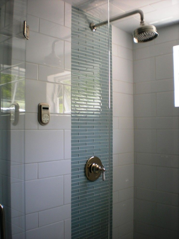 I like the two different sizes of the white tiles! | showers ...