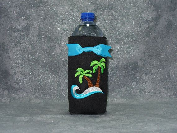 Bottle Beverage Holder Palm Trees Water Bottle by ItsSewMuchCooler