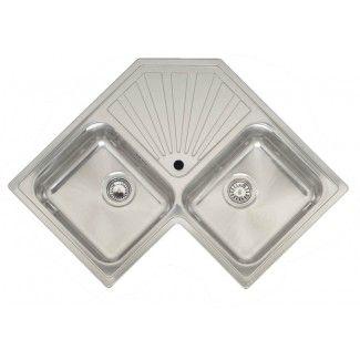 250 Montreal Elegance Inset Double Bowl Corner Kitchen Sink With Centre Drainer Corner Sink Kitchen Corner Sink Stainless Steel Kitchen Sink