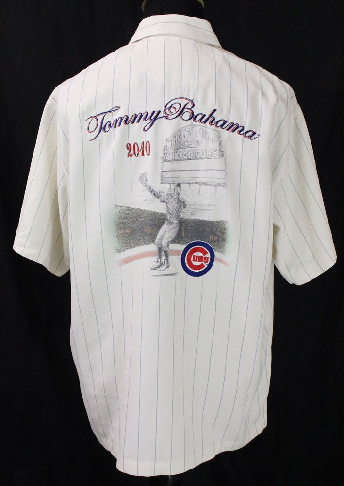 TOMMY BAHAMA CHICAGO CUBS MLB BASEBALL COLLECTORS SHIRT LARGE SILK ONLY 500  MADE  TommyBahama  ButtonFront 2a5b1bed4a01