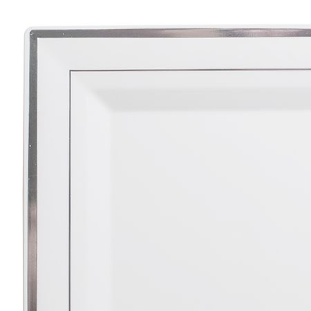 10  Square White Silver Rim Plastic Dinner Plates  sc 1 st  Pinterest & 10