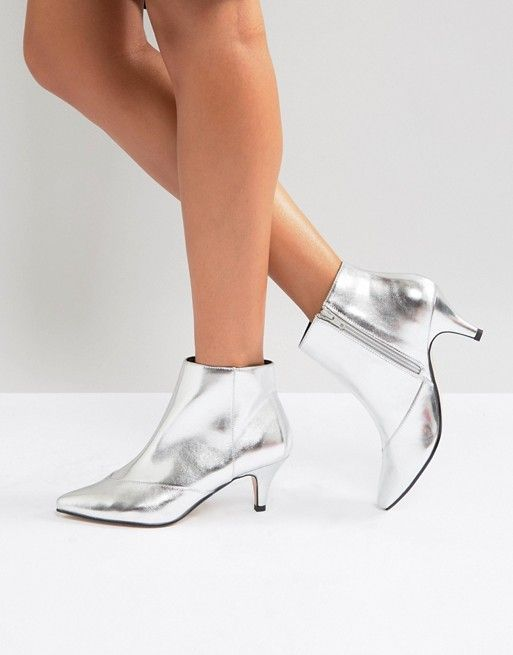Miss Selfridge Metallic Kitten Heel Ankle Boot | Silver