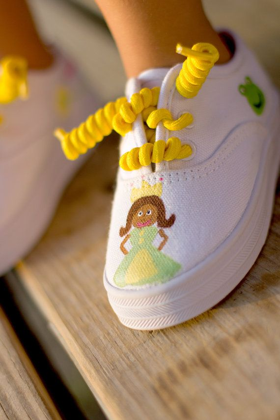 933312ff Princess and the frog Shoes - Hand painted Princess Tiana Disney inspired  pink sneakers for girls - infant or toddler painted shoes on Etsy, $27.00
