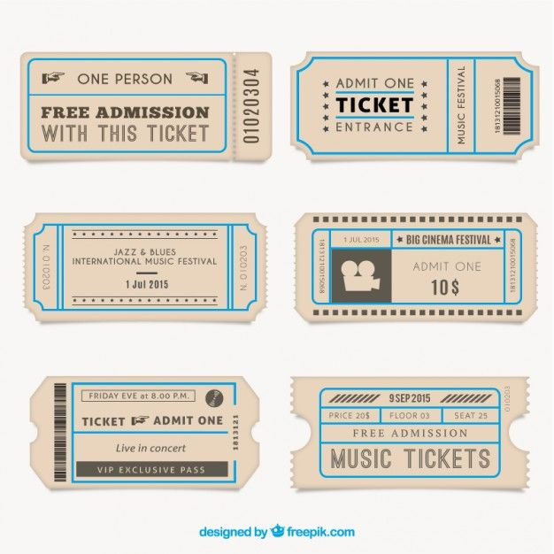 Vintage Tickets Collection Vector Free Download Ticket