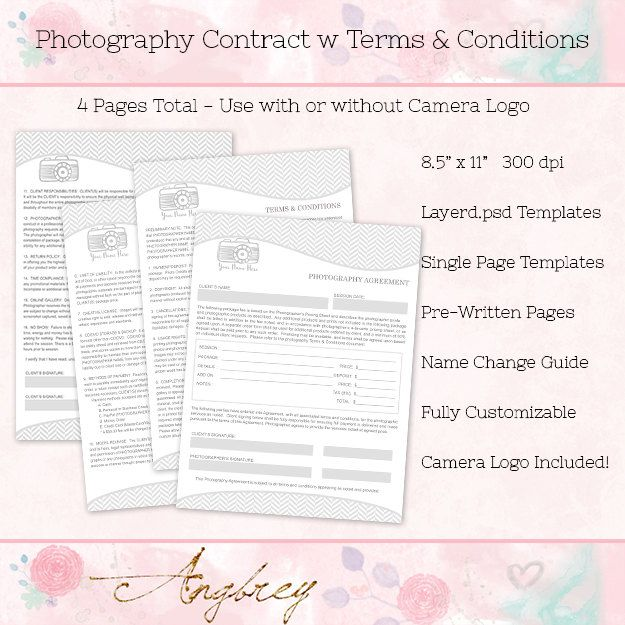 Contract Form for Photographers, Photography Agreement, Terms - photography contract template