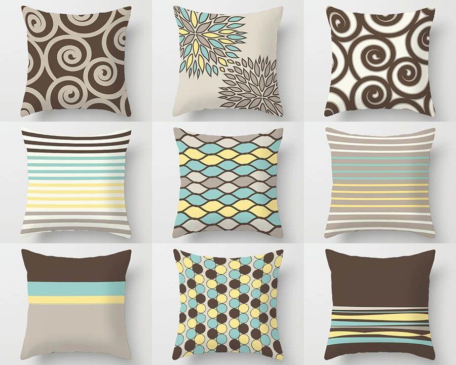 Sofa Pillow Covers Decorative Pillows Mint Green Yellow Brown Sofa Pillows Sofa Pillow Covers Brown Pillows