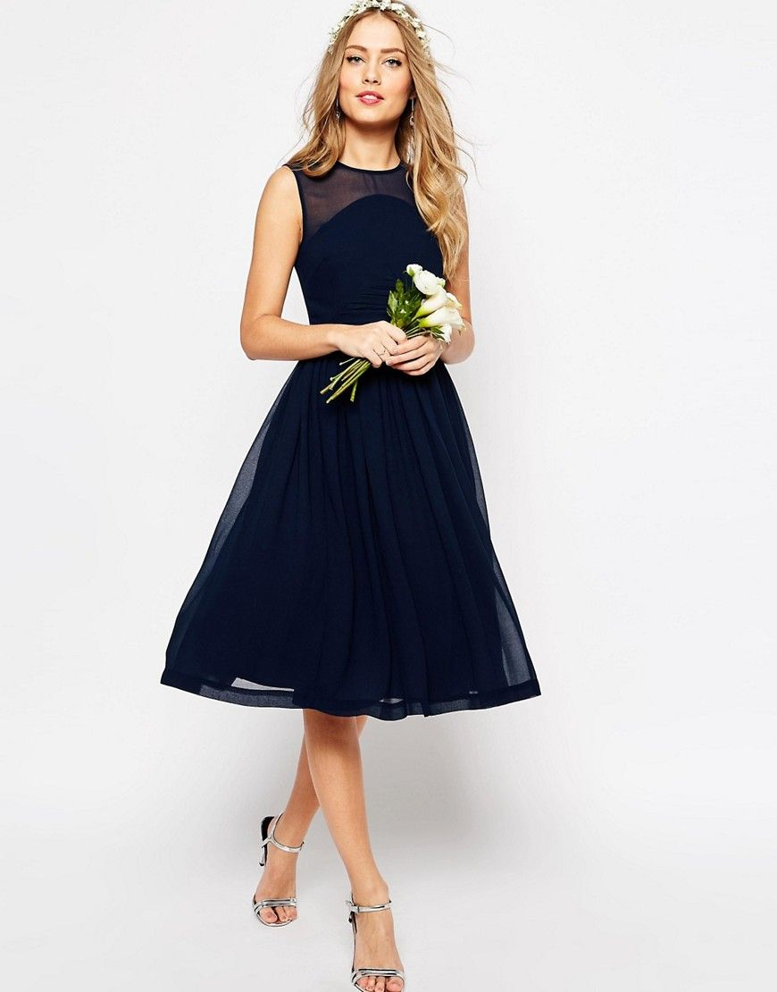f74302dafc1 Image 1 of ASOS WEDDING Midi Dress With Rouche Panel Detail