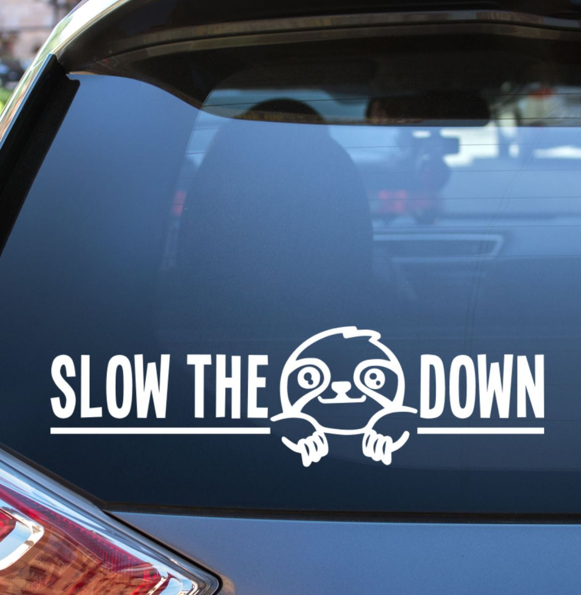 This Adorable Vinyl Decal Is Perfect For Sloth Lovers Remind Your Fellow Drivers To Slow The Sloth Dow Car Monogram Decal Unique Vinyl Decals Car Decals Vinyl [ 1200 x 1170 Pixel ]
